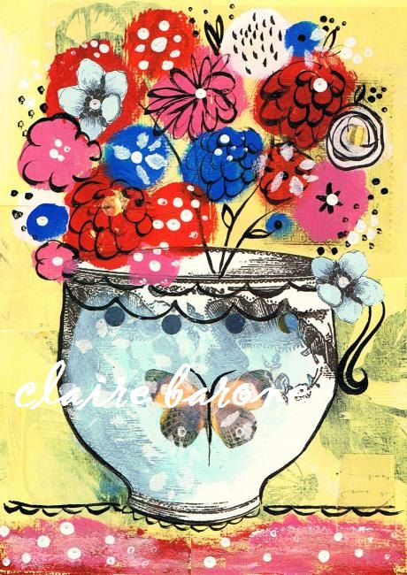 Shabby Blooms Matted Print LEP