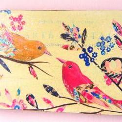 Vintage Birds wood block  print